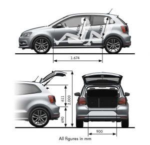 Volkswagen Polo - kompletní rozměry vozu